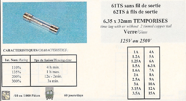 61TS sans fil de sortie 62TS à fils de sortie 6,35x32mm TEMPORISES